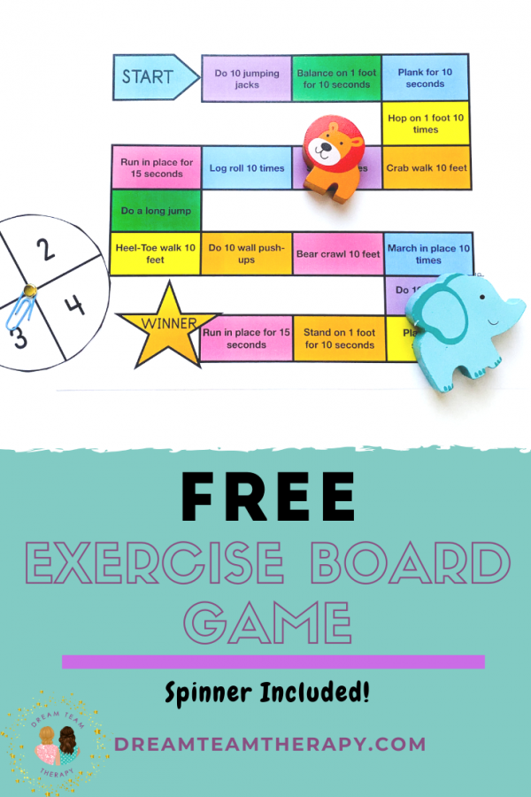 Free Exercise Board Game Printable! It's the perfect gross motor game for kids and teens! Practicing increasing your strength, coordination, and balance! #grossmotor #strength #coordination #balance #exercise #exerciseforkids #freeprintable #occupationaltherapy #boardgame #activitiesforkids #indooractivities #outdooractivities
