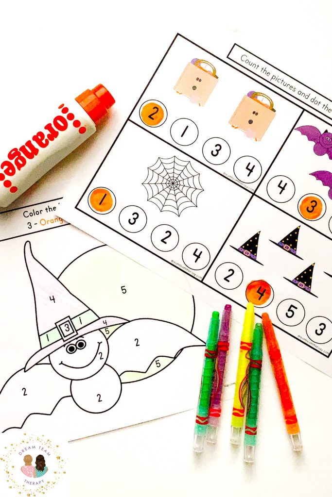 Free Halloween printable worksheets with color-by-number, counting pages, cutting sheets, and more for children! It's the perfect fine motor activity for small kids! #halloween #finemotor #visualmotor #mazes #colorbynumber  #counting #cutting #printable #occupationaltherapy #speechtherapy #worksheet #activitiesforkids #activities