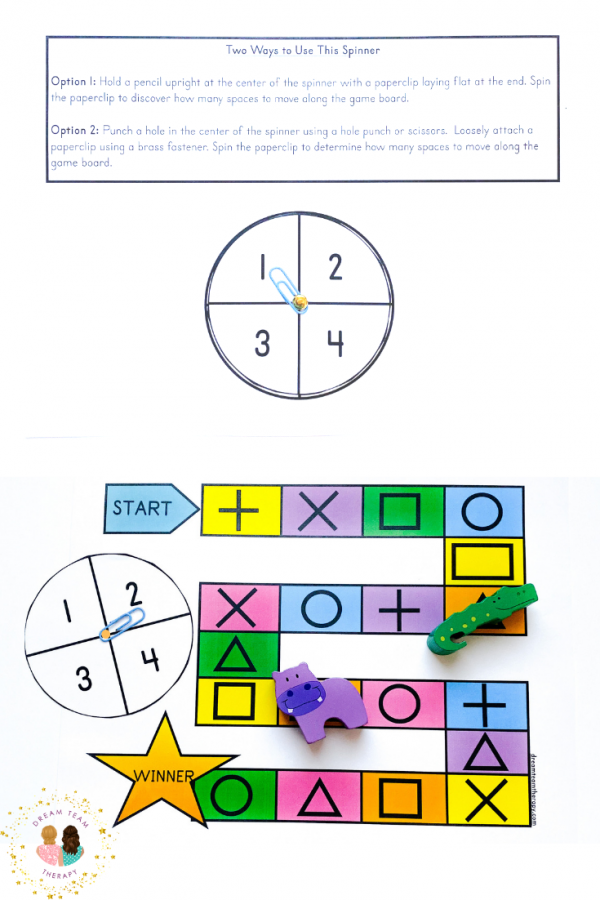 Free pre-writing shape board game printable with occupational therapy tips! It's perfect for kids learning pre-writing shapes. Free numbered spinner included! #prewritingshapes #prewriting #freeprintable #occupationaltherapy #boardgame #activitiesforkids #indooractivities #finemotor #visualmotor #spinnergame