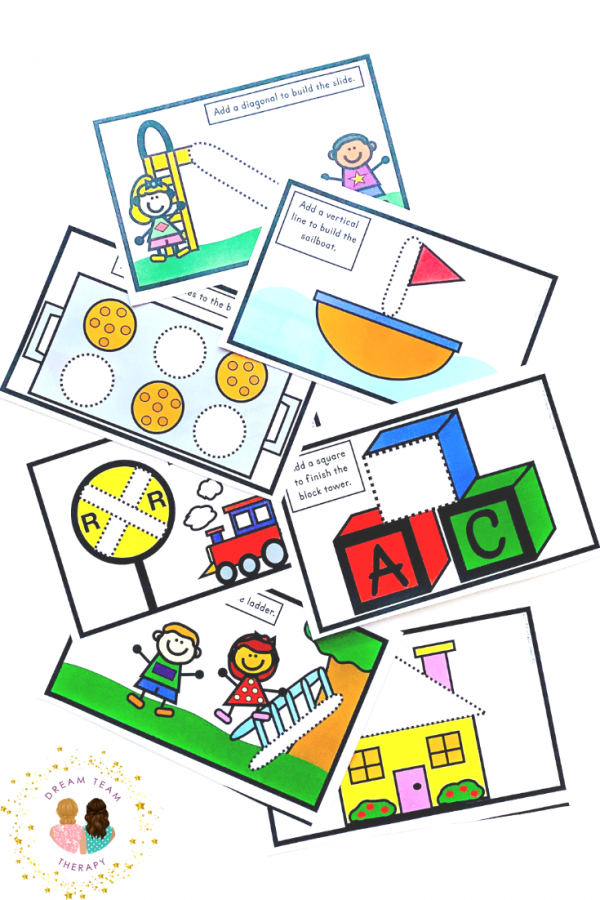 Teach kids how to learn pre-writing shapes with these fun play-dough mats! Perfect for teaching small children fine motor manipulation skills with Play-Doh! Also, learn some occupational therapy tips for teaching beginner writers! #playdohmats #playdoughmats #prewritingshapes #prewriting #printable #occupationaltherapy #playdough #playdoh #shapes #activitiesforkids #indooractivities #finemotor #visualmotor #dexterity #preschool #kindergarten