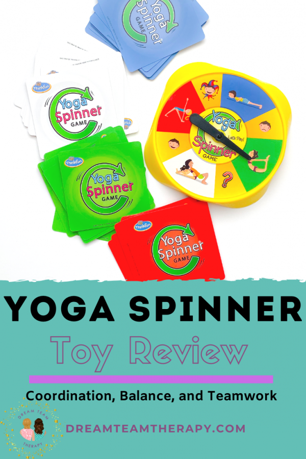 Toy review on the game yoga spinner! It's a great game for kids and teens focusing on balance, coordination, strength, and team work! It's also a new occupational therapy staple! #grossmotor #strength #coordination #balance #exercise #exerciseforkids #occupationaltherapy #game #spinnergame #activitiesforkids #indooractivities #outdooractivities #toyreview #yoga #yogaspinner #teamwork