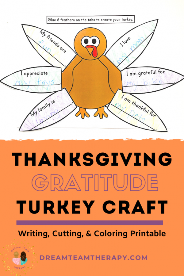 Teach kids how to write gratitudes with this Thanksgiving turkey craft! Blank feathers and feathers with writing prompts included! #turkey #craftforkids #thanksgiving #gratitudes #printable #occupationaltherapy #speechtherapy #worksheet #activitiesforkids #craft #activities