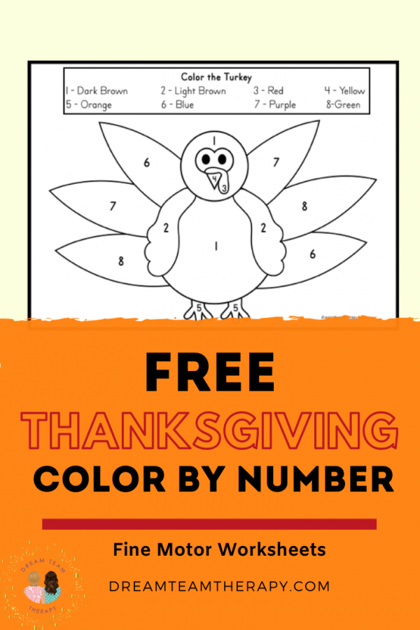 Enjoy this free Thanksgiving turkey color by number printable! Kids will love completing this following directions activity. Practice identifying numbers and coloring within the lines! #thanksgiving #turkey #freeprintable #occupationaltherapy #kindergarten #coloring #numbers #finemotor #visualmotor