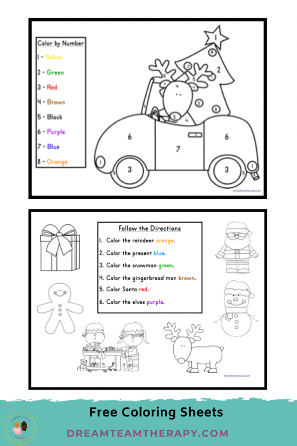 Free Christmas coloring worksheets for kids! Choose between a color-by-number printable and a following directions printable! Children will enjoy these fun holiday pages! #christmas #prewriting #occupationaltherapy