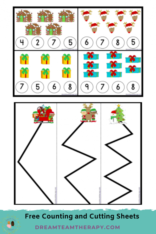 Free Christmas counting and cutting worksheets for kids! Learn numbers 1-12 and practice cutting with straight, curved, and zig-zag lines! Children will enjoy these fun holiday pages! #christmas #fine motor #occupationaltherapy