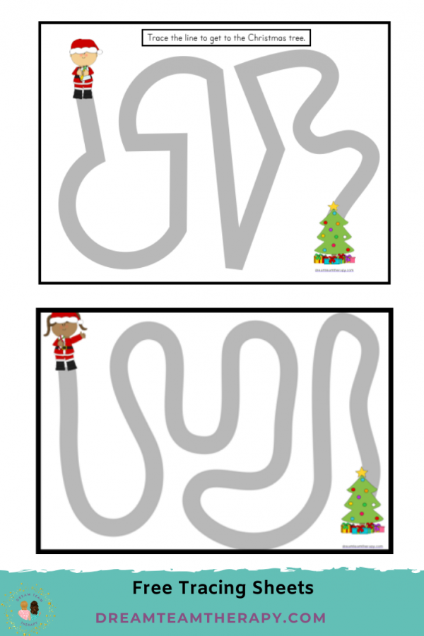 Free Christmas tracing worksheets for kids! Try staying between the lines while completing curved and zig-zag mazes! Children will enjoy these fun holiday pages! #christmas #prewriting #finemotor #occupationaltherapy