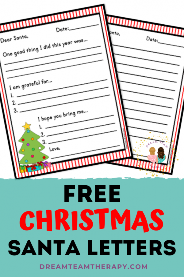 Free Santa letters for kids of all ages! Choose between a blank template for creative writing or a template with writing prompts teaching gratitude and reflection on the past year! #christmas #handwriting #santa #occupationaltherapy