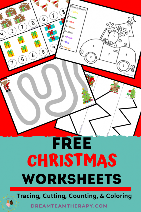 Free Christmas tracing, cutting, coloring, and counting worksheets for kids! Enjoy fun holiday activities in this fine motor printable pack! #christmas #holiday #cutting #tracing #counting #prewriting #coloring