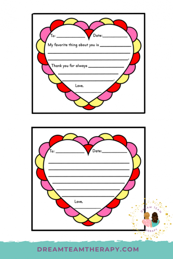 Enjoy these Valentine's Day love letters for kids! Choose between a template with writing prompts or a blank template for more advanced writers! Kids will love sending these off to their loved ones! #valentinesday #loveletters #occupational therapy #freeprintable