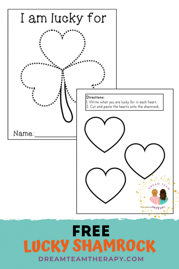Free lucky shamrock activity for St. Patrick's Day! Practice using fine motor skills like writing and cutting while reflecting on what makes you lucky! Perfect for kids of all ages! #occupationaltherapy #speechtherapy #stpatricksday #shamrock #clover
