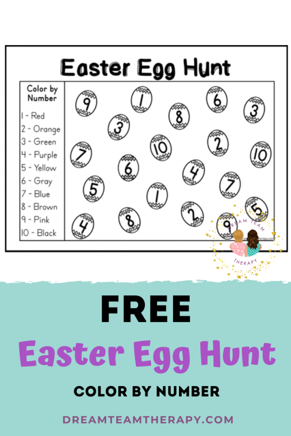 Enjoy this free color by number printable for kids! Great for improving fine motor and number recognition skills. Perfect for kindergarten and above! #occupationaltherapy #colorbynumber #easter #freeprintable