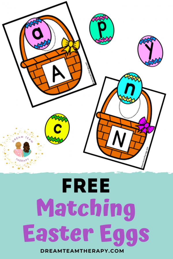 Free letter matching Easter eggs for kids! The perfect spring activity for learning uppercase and lowercase letters! Hide the eggs and have your own indoor Easter egg hunt!