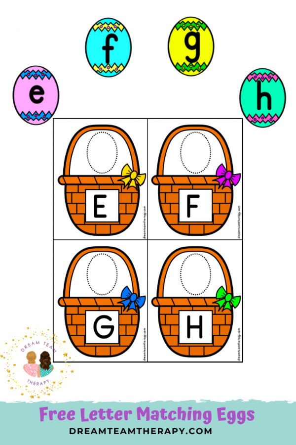 Free letter matching Easter eggs for kids! The perfect spring activity for learning uppercase and lowercase letters. Hide the eggs and have your own indoor Easter egg hunt! #letters #freeprintable #easterbasket