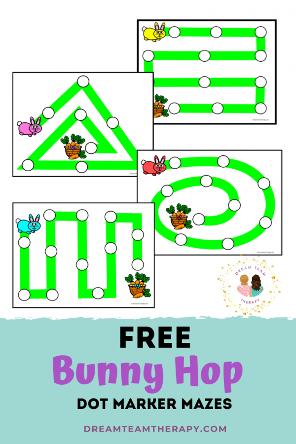Free bunny hop dot marker activity for kids! Follow the rabbit trail mazes to get to the basket of carrots! Great for improving fine motor, visual motor, and grasping skills! #easter #freeprintable #maze #dotmarker