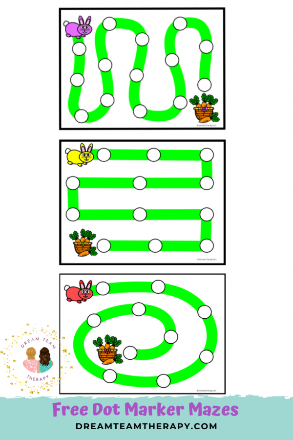 Free bunny hop dot marker activity for kids of all ages! Complete each maze to get to the basket of carrots! Great for improving fine and visual motor skills! #easter #mazes #dotmarker