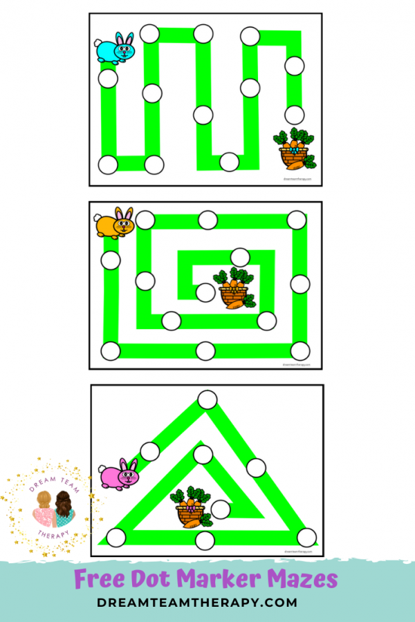 Free bunny hop dot marker activity for kids! Follow the rabbit trail mazes to get to the basket of carrots! Great for improving fine and visual motor skills! #easter #freeprintable #mazes #dotmarker