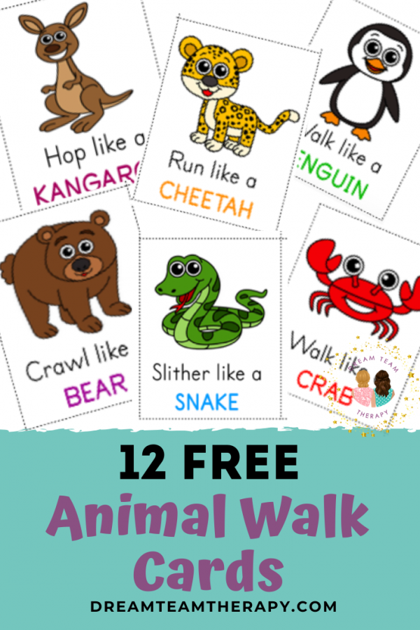 Free animal walk cards for kids of all ages! Perfect for increasing strength, balance, and coordination. Set of 12 cards. #occupationaltherapy #animalwalk