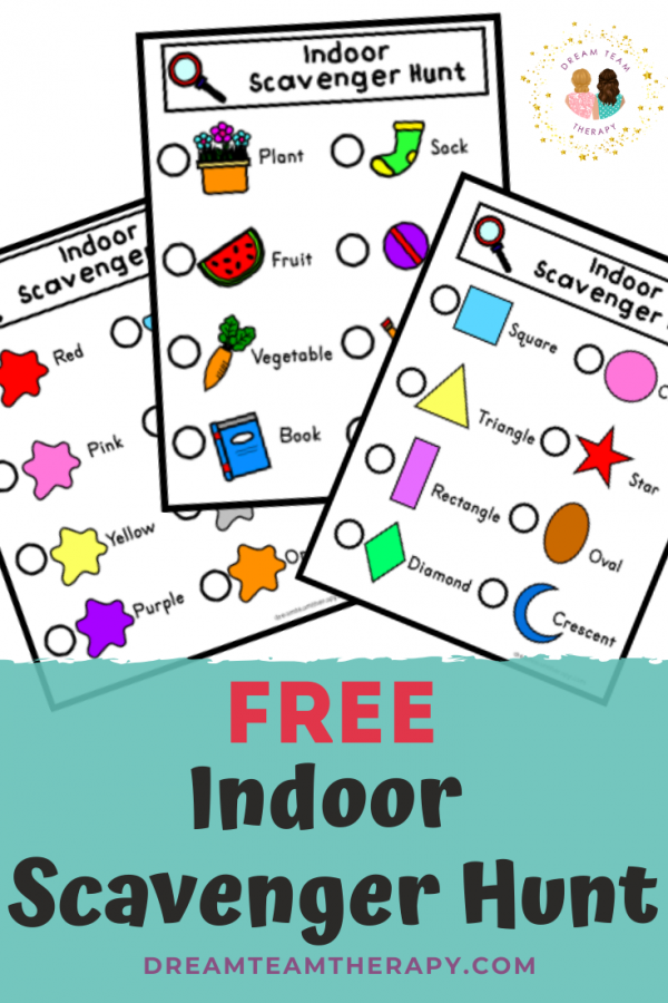 Free indoor scavenger hunt for kids! Have fun finding different items, colors, or shapes. Great for increasing vocabulary and visual attention. Perfect for children of all ages! #speechtherapy #occupationaltherapy #scavengerhunt