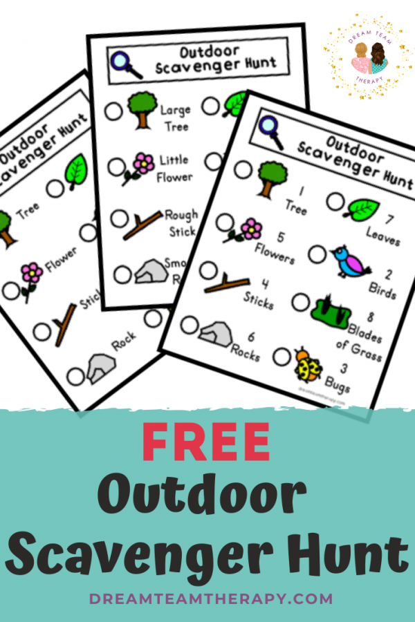Free outdoor scavenger hunt for kids! Choose between 3 different options to learn sight words, opposites, or counting! Perfect for kids of all ages! #occupationaltherapy #speechtherapy #scavengerhunt
