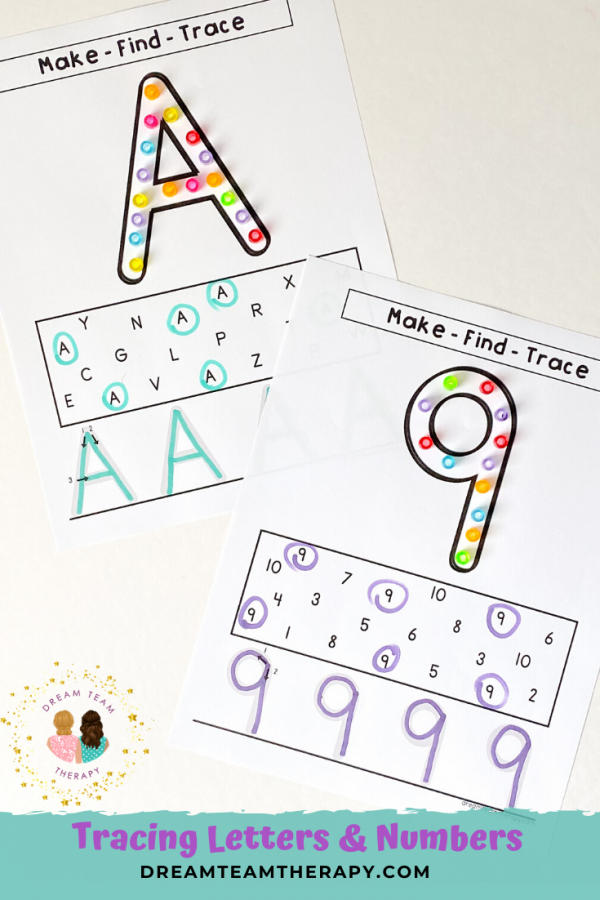 Make, find, and trace worksheets for number and uppercase and lowercase letters! Improve fine motor, visual motor, language, and letter recognition skills with this fun printable bundle!