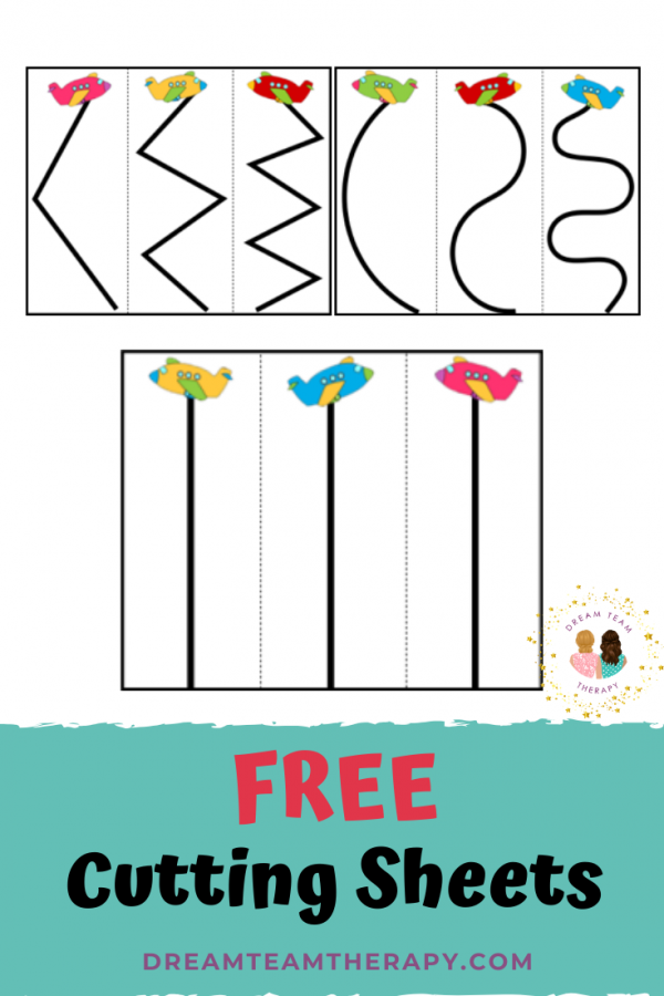 Free airplane cutting printable for kids! Follow along the curvy, zig-zag, and straight lines with your scissors. It's the perfect activity fine and visual motor activity for kids! #occupationaltherapy #cutting #preschool